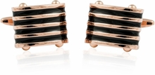 Rose Gold Black Striped Cufflinks