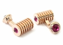Rose Gold Fuschia Swarovski Barrel Cufflinks