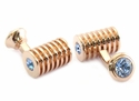 Rose Gold Light Sapphire Swarovski Double Cufflinks