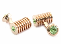 Rose Gold Peridot Swarovski Double Cufflinks