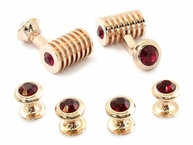 Rose Gold Ruby Red Swarovski Barrel Formal Set