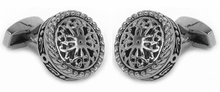 Round Filigree Cufflinks Stainless Steel