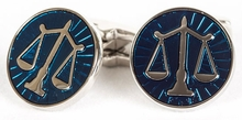 Scales of Justice Cufflinks in Blue