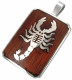 Scorpion pendant with Rich Wood Inlay