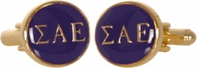 Sigma Alpha Epsilon Purple Gold Cufflinks