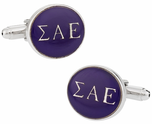 Sigma Alpha Epsilon Purple Silver Cufflinks