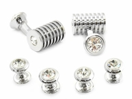 Silver Clear Swarovski Barrel Formal Set