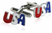 Silver Patriotic USA Cufflinks