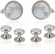 Silvertone and Mother of Pearl Cufflinks and Studs Formal Set