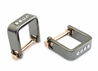 Square Wrap Rose Gold Gun Metal Crystal Cufflinks
