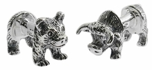 Sterling Bull Bear Body Cufflinks