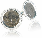 Sterling Silver Buffalo Nickel Cufflinks