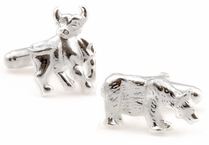 Sterling Silver Bull and Bear Cufflinks