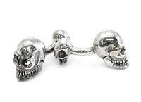 Sterling Silver Double Skull Cufflinks
