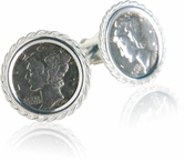 Sterling Silver Mercury Dime Cufflinks