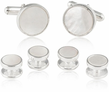 Sterling Silver Mother of Pearl Tuxedo Cufflinks and Studs Formal Set