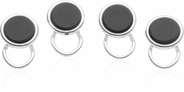 Sterling Silver Plated Clip-on Studs in Onyx