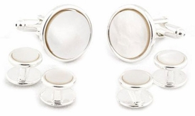 Sterling Silver Plated Mother of Pearl Cufflinks and Studs Formal Set