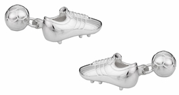 Sterling Silver Soccer Ball Shoe Cufflinks