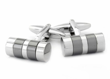 Striped Barrel Silver Cufflinks