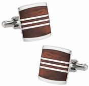 Striped Wood Cufflinks