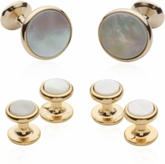 Gold-plated Cufflinks and Studs Tuxedo Formal Set with MOP