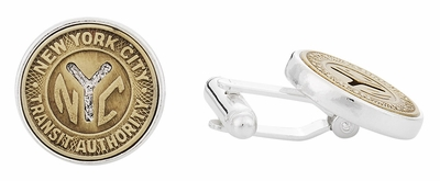 Subway Token Cufflinks for New York City Clad in Sterling Silver
