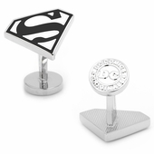 Superman Shield Cufflinks in Black and White Enamel