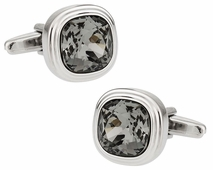 Stylish Swarovski Black Diamond Cufflinks