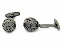Swarovski Gunmetal Caged Pearl Cufflinks in Black