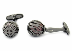 Swarovski Gunmetal Caged Pearl Cufflinks in Burgundy
