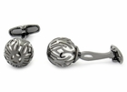 Swarovski Gunmetal Caged Pearl Cufflinks in White
