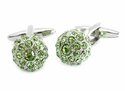 Swarovski Peridot Green Ball Cufflinks