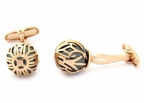 Swarovski Rose Gold Caged Pearl Cufflinks in Black