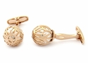 Swarovski Rose Gold Caged Pearl Cufflinks in White