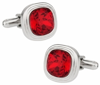 Swarovski Siam Red Crystal Cufflinks