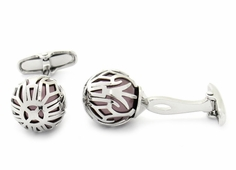 Swarovski Silver Caged Pearl Cufflinks in Burgundy
