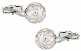 Swarovski Silver Caged Pearl Cufflinks in White