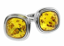Swarovski Sunflower Yellow Crystal Cufflinks