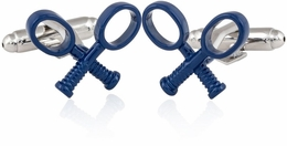 Tennis Racquet Cufflinks in Blue