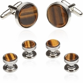 Tigers Eye Cufflinks and Studs Formal Set in Silver