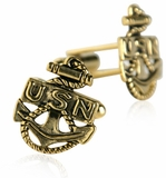 US Navy Anchor Cufflinks Gold