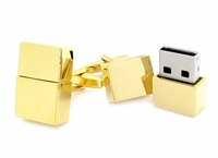 USB Flash Drive Cufflinks in Goldtone 4GB