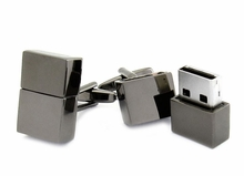 USB Flash Drive Cufflinks in Gun Metal 4GB