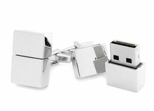 USB Flash Drive Cufflinks in Silver Finish 4GB