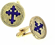 Vatican Gold-Tone Blue Cross Cufflinks