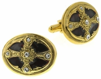 Vatican Gold-Tone Siam Red Cross Cufflinks