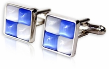 White & Blue Cufflinks