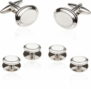 White Cufflinks and Studs Formal Set