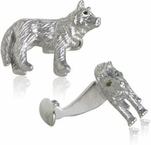 Wolf Cufflinks with Swarovski Eyes